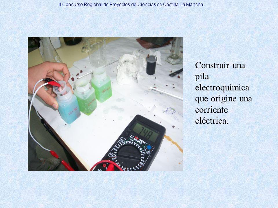 II Concurso Regional de Proyectos de Ciencias de Castilla-La Mancha COMPARACIÓN GRÁFICA DE LAS DISOLUCIONES DE HCl Y H 2 SO 4 DE 100 ml DE VOLUMEN 500 ml DE HCl (Celda de la batería coche) Disolución de HClV (v)I (A) ml de HClml de H 2 O 166 (50%)3340,8401,2 83 (20%)4170,8801 NUESTRA PILA