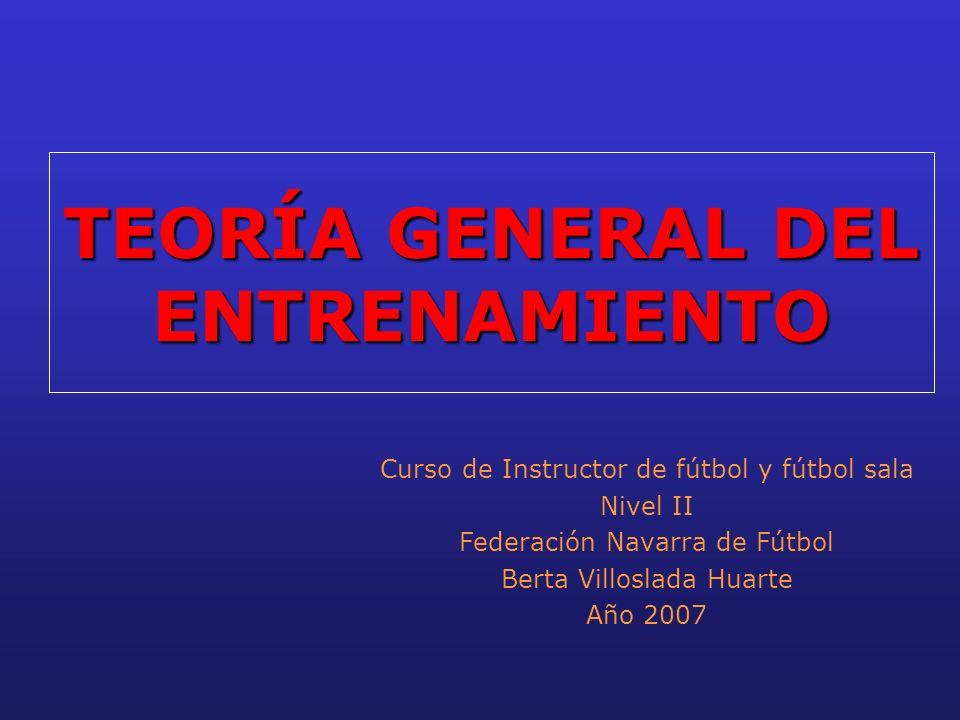 TEORÍA GENERAL DEL ENTRENAMIENTO Curso de Instructor de fútbol y fútbol sala Nivel II Federación Navarra de Fútbol Berta Villoslada Huarte Año 2007