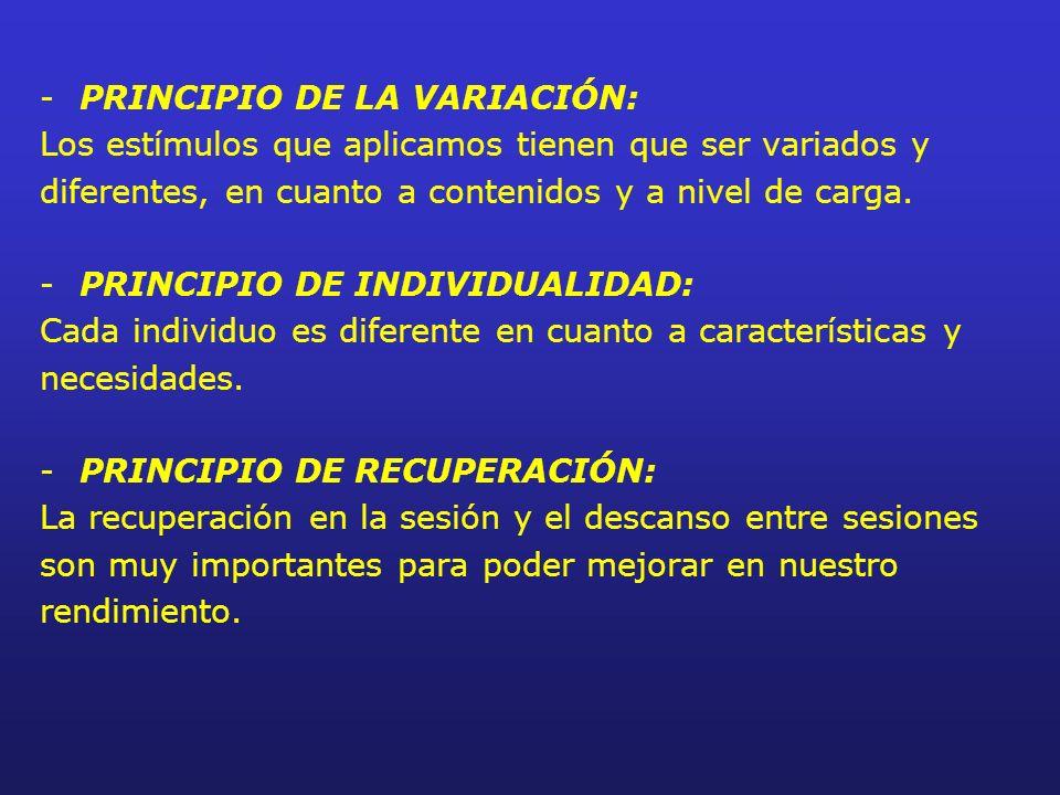-PRINCIPIO DE LA VARIACIÓN: Los estímulos que aplicamos tienen que ser variados y diferentes, en cuanto a contenidos y a nivel de carga. -PRINCIPIO DE