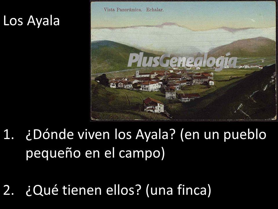 Los Ayala 1.¿Dónde viven los Ayala? (en un pueblo pequeño en el campo) 2.¿Qué tienen ellos? (una finca)