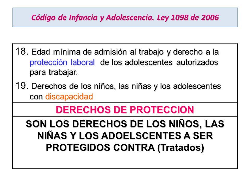 Código de Infancia y Adolescencia. Ley 1098 de 2006 Edad mínima de admisión al trabajo y derecho a la protección laboral de los adolescentes autorizad