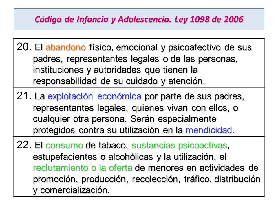 Código de Infancia y Adolescencia. Ley 1098 de 2006 El abandono físico, emocional y psicoafectivo de sus padres, representantes legales o de las perso