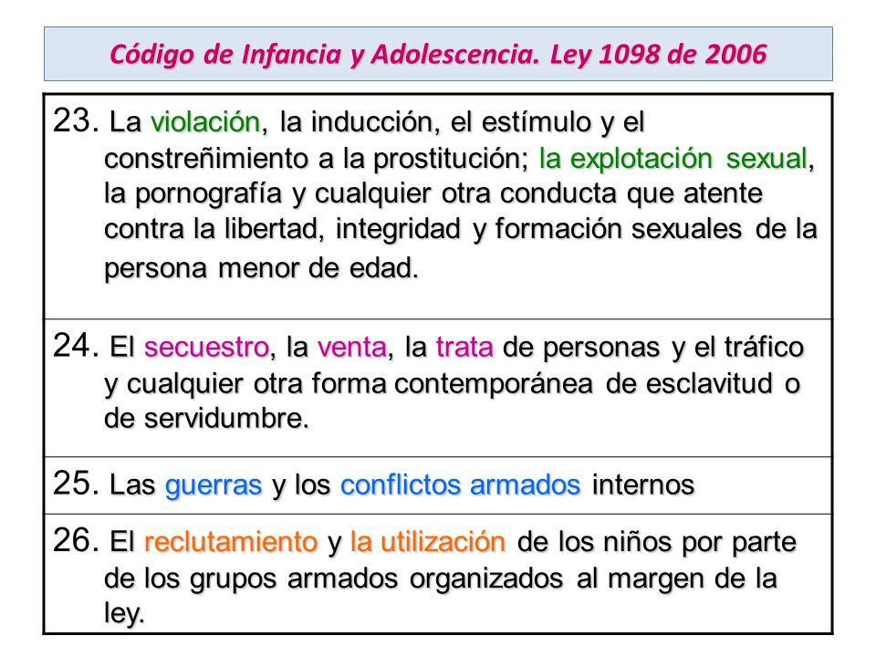 Código de Infancia y Adolescencia. Ley 1098 de 2006 La violación, la inducción, el estímulo y el constreñimiento a la prostitución; la explotación sex