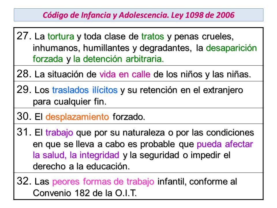 Código de Infancia y Adolescencia. Ley 1098 de 2006 La tortura y toda clase de tratos y penas crueles, inhumanos, humillantes y degradantes, la desapa