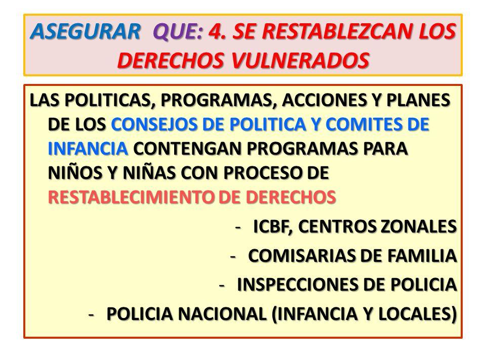 ASEGURAR QUE: 4. SE RESTABLEZCAN LOS DERECHOS VULNERADOS LAS POLITICAS, PROGRAMAS, ACCIONES Y PLANES DE LOS CONSEJOS DE POLITICA Y COMITES DE INFANCIA