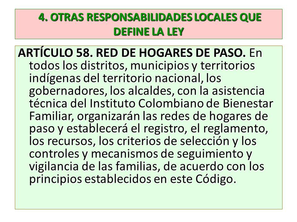 4. OTRAS RESPONSABILIDADES LOCALES QUE DEFINE LA LEY 4. OTRAS RESPONSABILIDADES LOCALES QUE DEFINE LA LEY ARTÍCULO 58. RED DE HOGARES DE PASO. En todo
