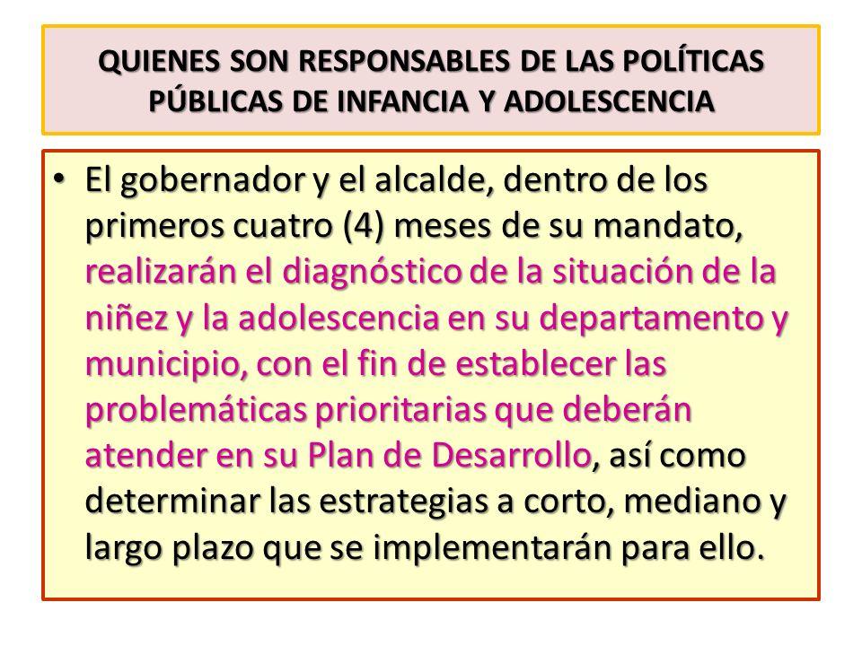 QUIENES SON RESPONSABLES DE LAS POLÍTICAS PÚBLICAS DE INFANCIA Y ADOLESCENCIA El gobernador y el alcalde, dentro de los primeros cuatro (4) meses de s