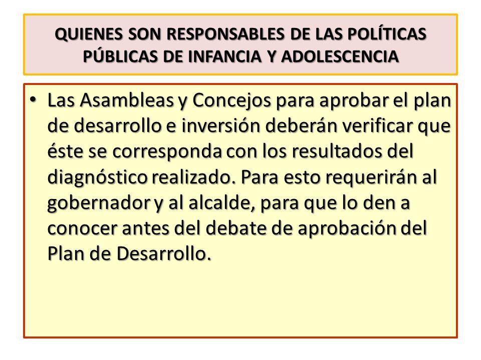 QUIENES SON RESPONSABLES DE LAS POLÍTICAS PÚBLICAS DE INFANCIA Y ADOLESCENCIA Las Asambleas y Concejos para aprobar el plan de desarrollo e inversión