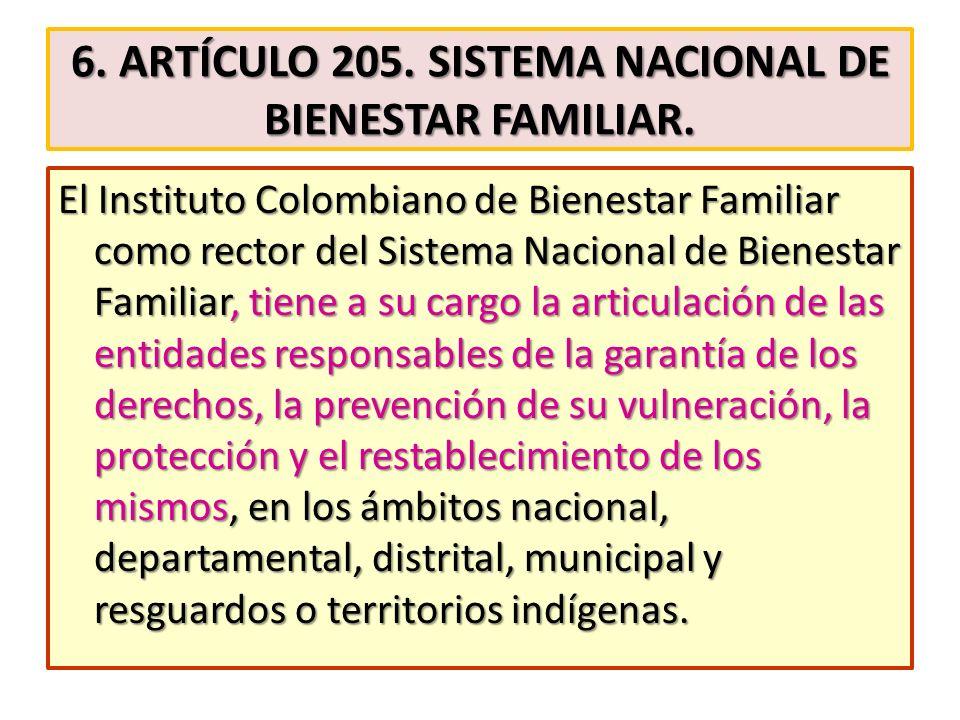 6. ARTÍCULO 205. SISTEMA NACIONAL DE BIENESTAR FAMILIAR. El Instituto Colombiano de Bienestar Familiar como rector del Sistema Nacional de Bienestar F