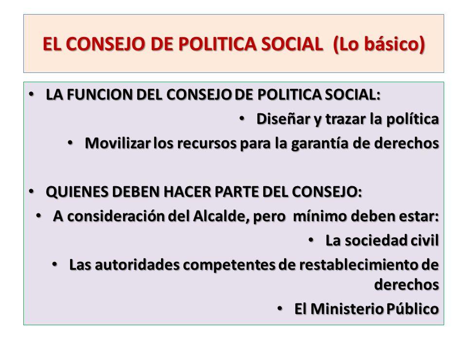 EL CONSEJO DE POLITICA SOCIAL (Lo básico) LA FUNCION DEL CONSEJO DE POLITICA SOCIAL: LA FUNCION DEL CONSEJO DE POLITICA SOCIAL: Diseñar y trazar la po