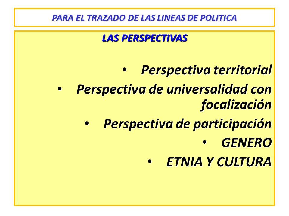 PARA EL TRAZADO DE LAS LINEAS DE POLITICA LAS PERSPECTIVAS Perspectiva territorial Perspectiva territorial Perspectiva de universalidad con focalizaci