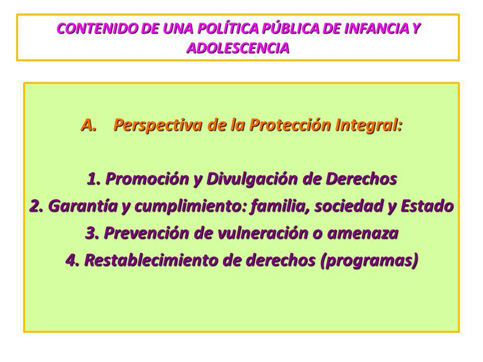CONTENIDO DE UNA POLÍTICA PÚBLICA DE INFANCIA Y ADOLESCENCIA A.Perspectiva de la Protección Integral: 1. Promoción y Divulgación de Derechos 2. Garant