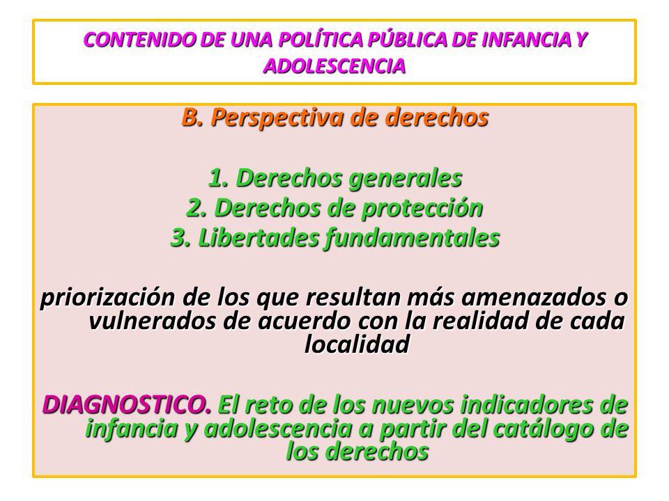 CONTENIDO DE UNA POLÍTICA PÚBLICA DE INFANCIA Y ADOLESCENCIA B. Perspectiva de derechos 1. Derechos generales 2. Derechos de protección 3. Libertades