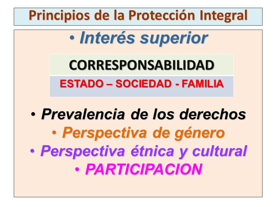 Principios de la Protección Integral Interés superiorInterés superior Prevalencia de los derechosPrevalencia de los derechos Perspectiva de géneroPers