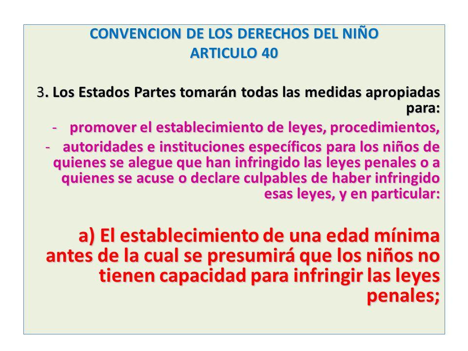 CONVENCION DE LOS DERECHOS DEL NIÑO ARTICULO 40 3. Los Estados Partes tomarán todas las medidas apropiadas para: -promover el establecimiento de leyes