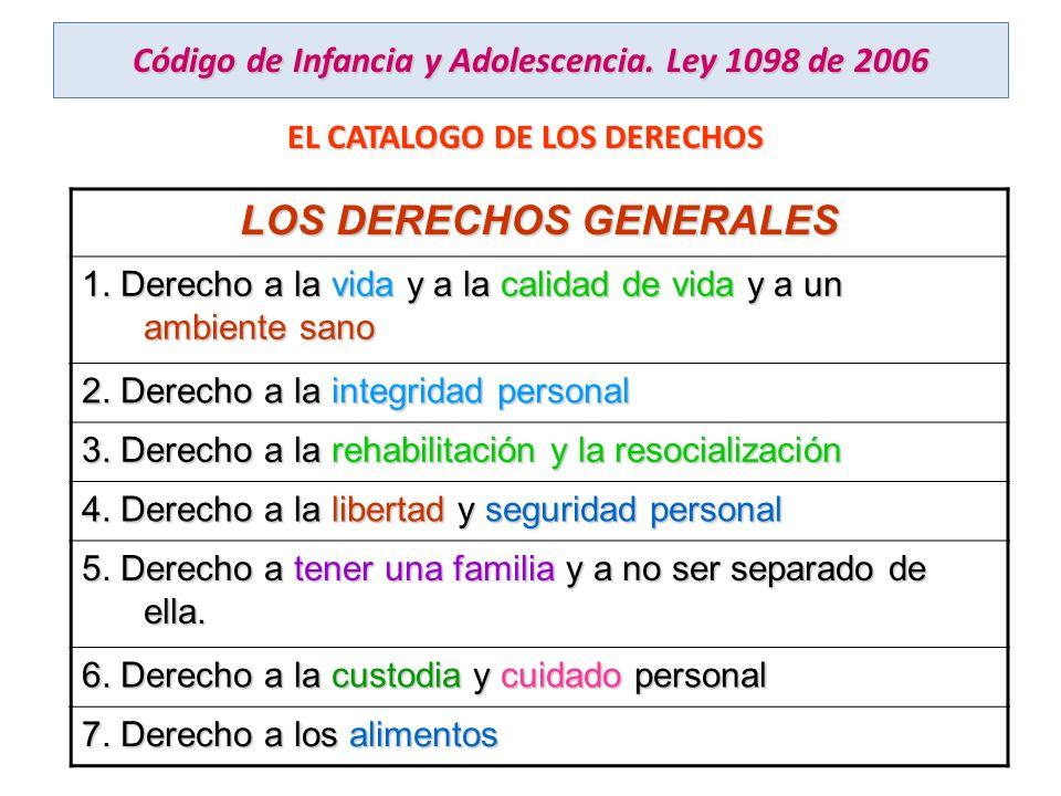 Código de Infancia y Adolescencia. Ley 1098 de 2006 EL CATALOGO DE LOS DERECHOS LOS DERECHOS GENERALES 1. Derecho a la vida y a la calidad de vida y a
