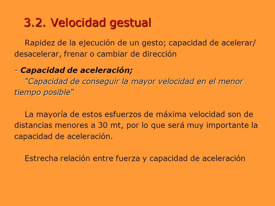 Rapidez de la ejecución de un gesto; capacidad de acelerar/ desacelerar, frenar o cambiar de dirección - - Capacidad de aceleración; Capacidad de cons
