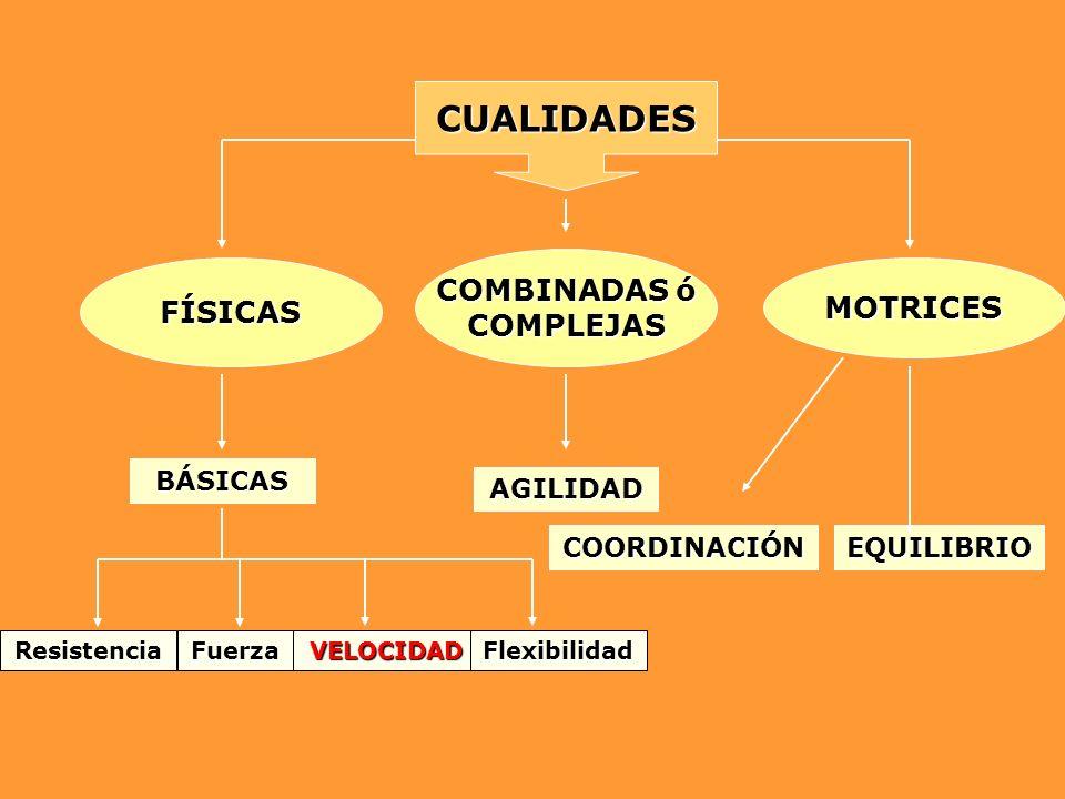 CUALIDADES COMBINADAS ó COMPLEJAS FÍSICASMOTRICES BÁSICAS AGILIDAD COORDINACIÓNEQUILIBRIO FuerzaVELOCIDADResistenciaFlexibilidad