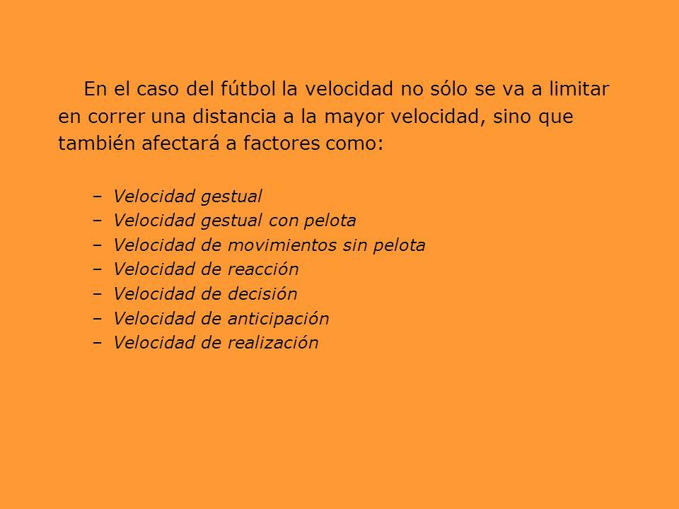 En el caso del fútbol la velocidad no sólo se va a limitar en correr una distancia a la mayor velocidad, sino que también afectará a factores como: –V