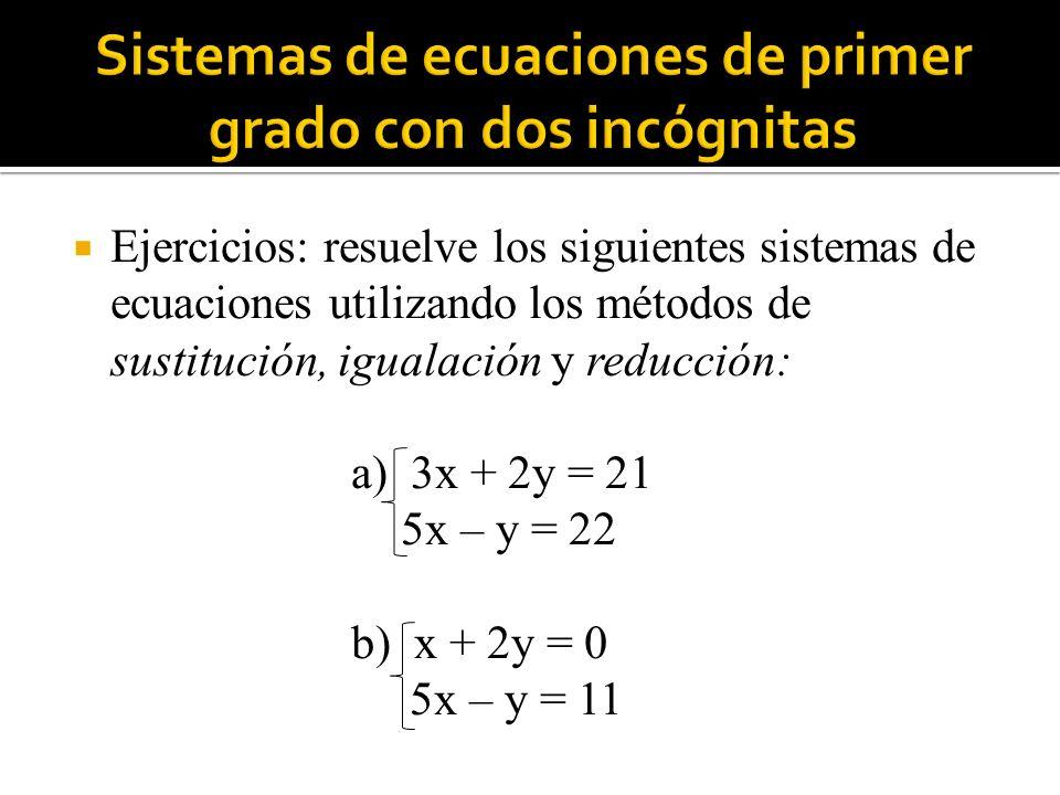 Ejercicios: resuelve los siguientes sistemas de ecuaciones utilizando los métodos de sustitución, igualación y reducción: a) 3x + 2y = 21 5x – y = 22 b) x + 2y = 0 5x – y = 11