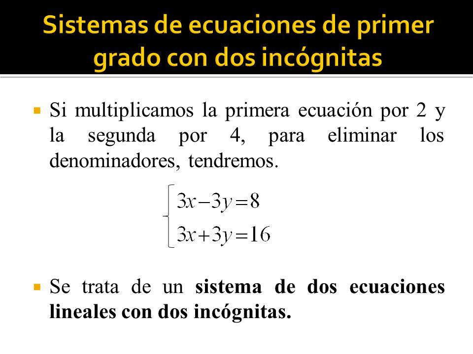 En general, los sistemas de dos ecuaciones lineales con dos incógnitas son de la forma: Son conjuntos formados por dos ecuaciones de primer grado que se verifican para los mismos valores de las incógnitas.