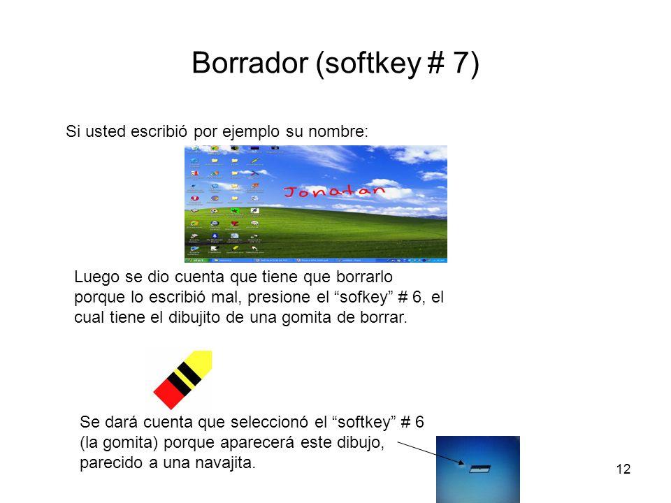 12 Borrador (softkey # 7) Si usted escribió por ejemplo su nombre: Luego se dio cuenta que tiene que borrarlo porque lo escribió mal, presione el sofk