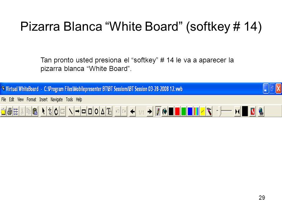 29 Pizarra Blanca White Board (softkey # 14) Tan pronto usted presiona el softkey # 14 le va a aparecer la pizarra blanca White Board.