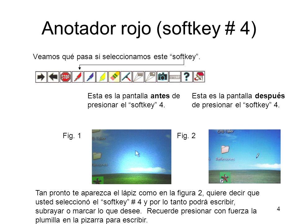 5 Anotador rojo (softkey # 4) Veamos un ejemplo: En el ejemplo anterior no se está escribiendo en un documento, sólo en la pantalla principal.