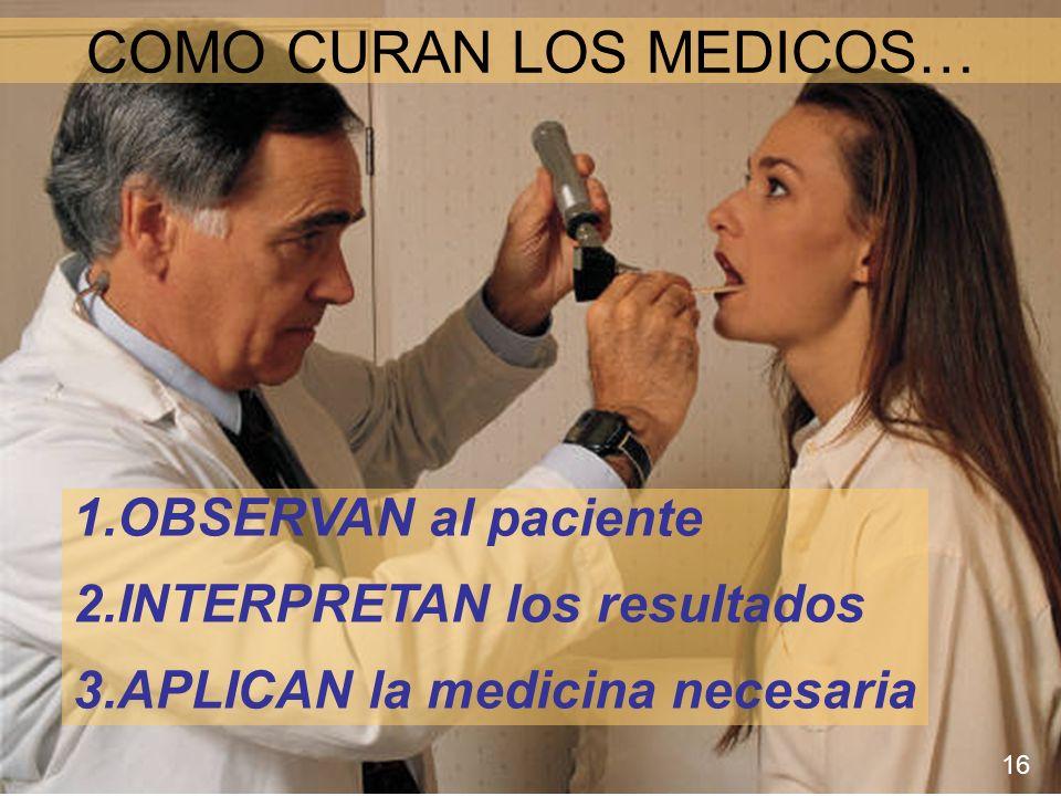 COMO CURAN LOS MEDICOS… 1.OBSERVAN al paciente 2.INTERPRETAN los resultados 3.APLICAN la medicina necesaria 16