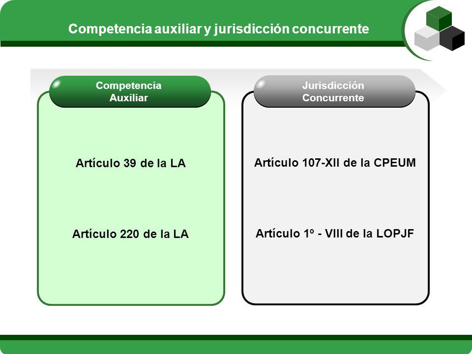 Artículo 39 de la LA Artículo 220 de la LA Competencia Auxiliar Artículo 107-XII de la CPEUM Artículo 1º - VIII de la LOPJF Jurisdicción Concurrente C