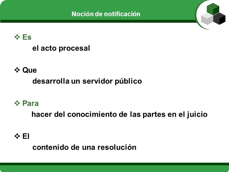 Noción de notificación Es el acto procesal Que desarrolla un servidor público Para hacer del conocimiento de las partes en el juicio El contenido de u