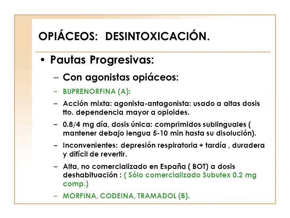 OPIÁCEOS: DESINTOXICACIÓN. Pautas Progresivas: – Con agonistas opiáceos: – BUPRENORFINA (A): – Acción mixta: agonista-antagonista: usado a altas dosis