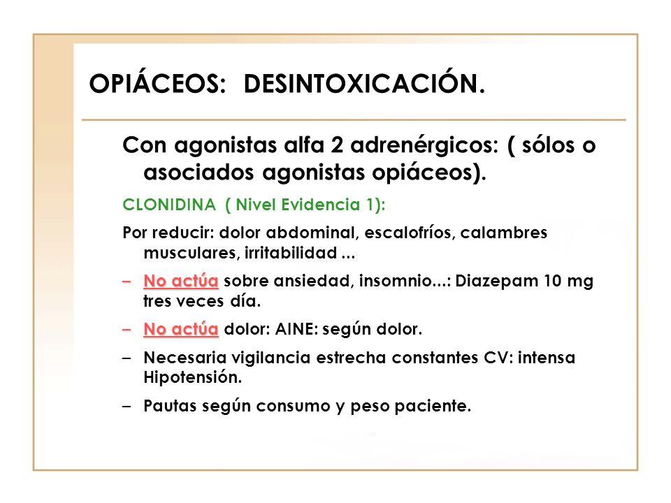 OPIÁCEOS: DESINTOXICACIÓN. Con agonistas alfa 2 adrenérgicos: ( sólos o asociados agonistas opiáceos). CLONIDINA ( Nivel Evidencia 1): Por reducir: do