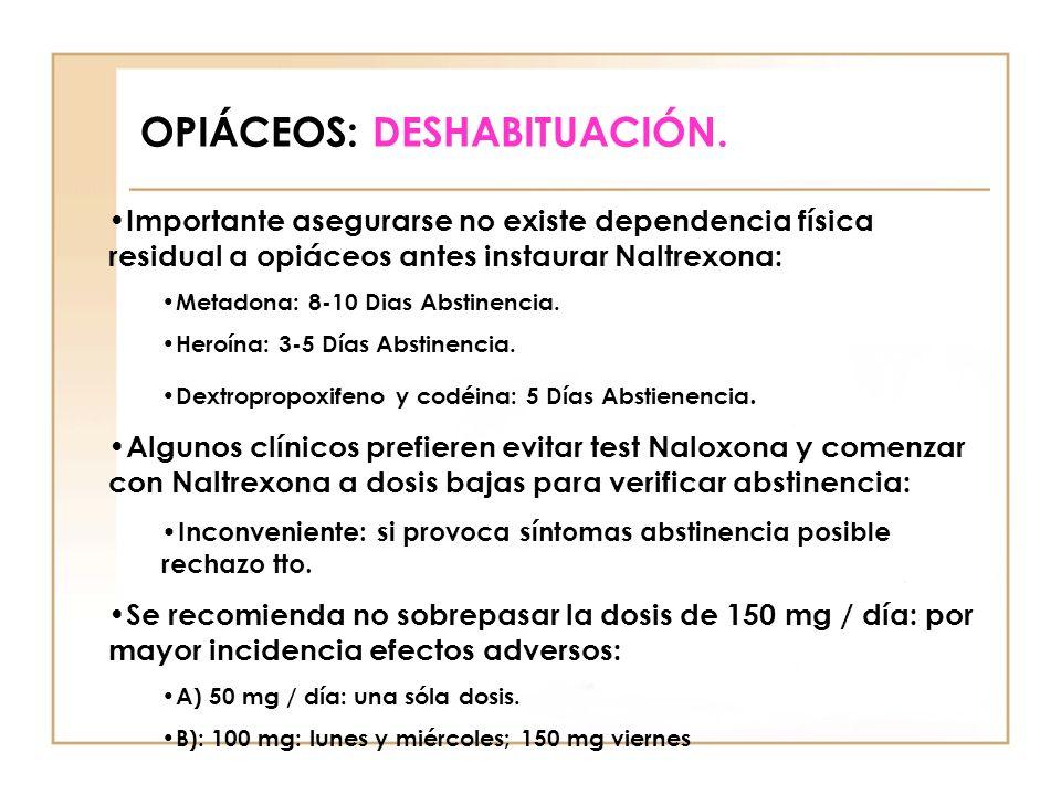 OPIÁCEOS: DESHABITUACIÓN. Importante asegurarse no existe dependencia física residual a opiáceos antes instaurar Naltrexona: Metadona: 8-10 Dias Absti