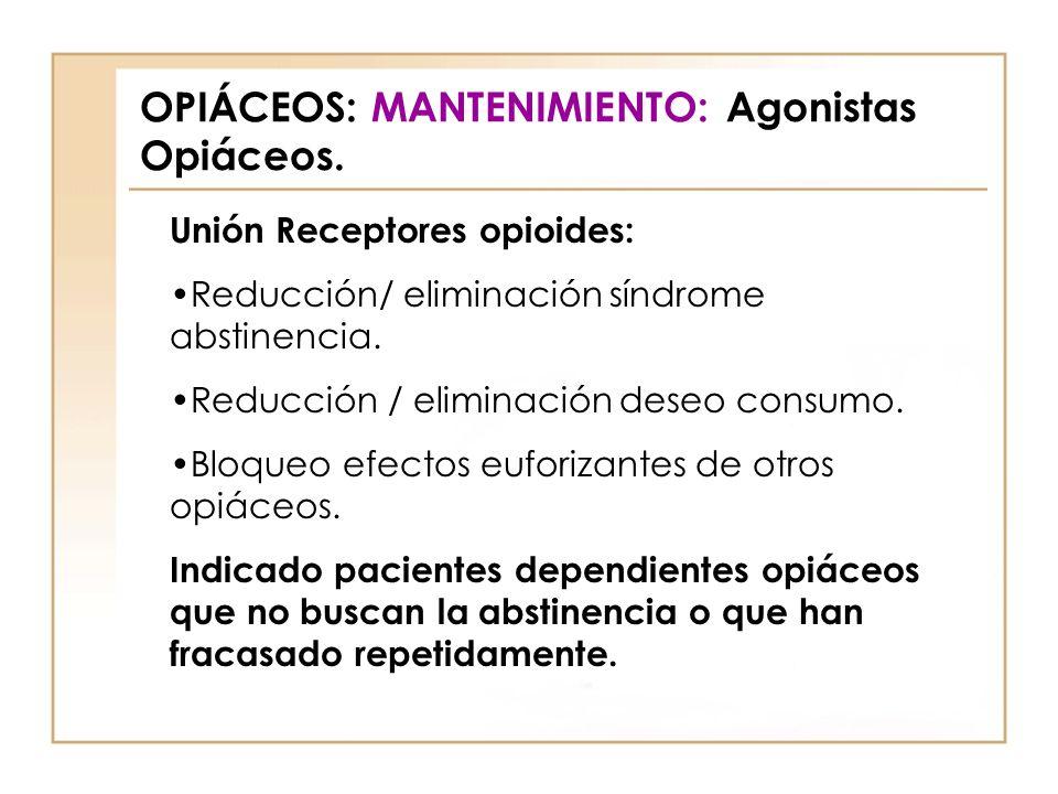 OPIÁCEOS: MANTENIMIENTO: Agonistas Opiáceos. Unión Receptores opioides: Reducción/ eliminación síndrome abstinencia. Reducción / eliminación deseo con