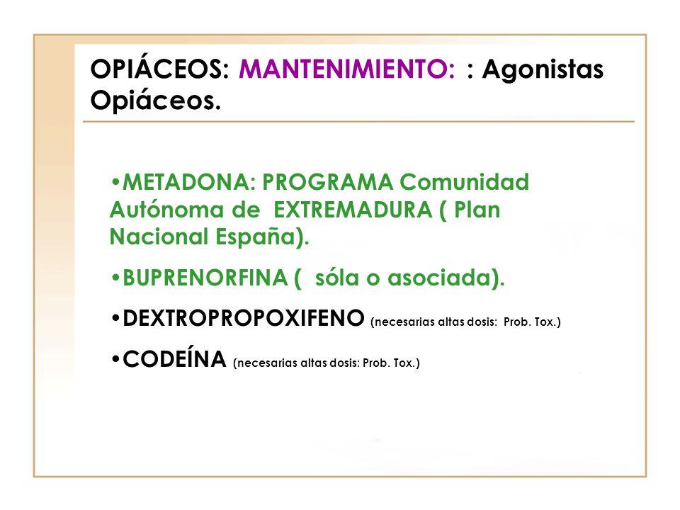 OPIÁCEOS: MANTENIMIENTO: : Agonistas Opiáceos. METADONA: PROGRAMA Comunidad Autónoma de EXTREMADURA ( Plan Nacional España). BUPRENORFINA ( sóla o aso