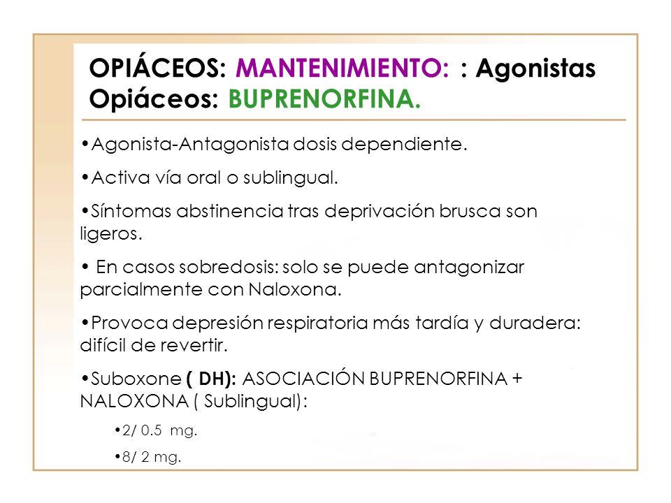 OPIÁCEOS: MANTENIMIENTO: : Agonistas Opiáceos: BUPRENORFINA. Agonista-Antagonista dosis dependiente. Activa vía oral o sublingual. Síntomas abstinenci