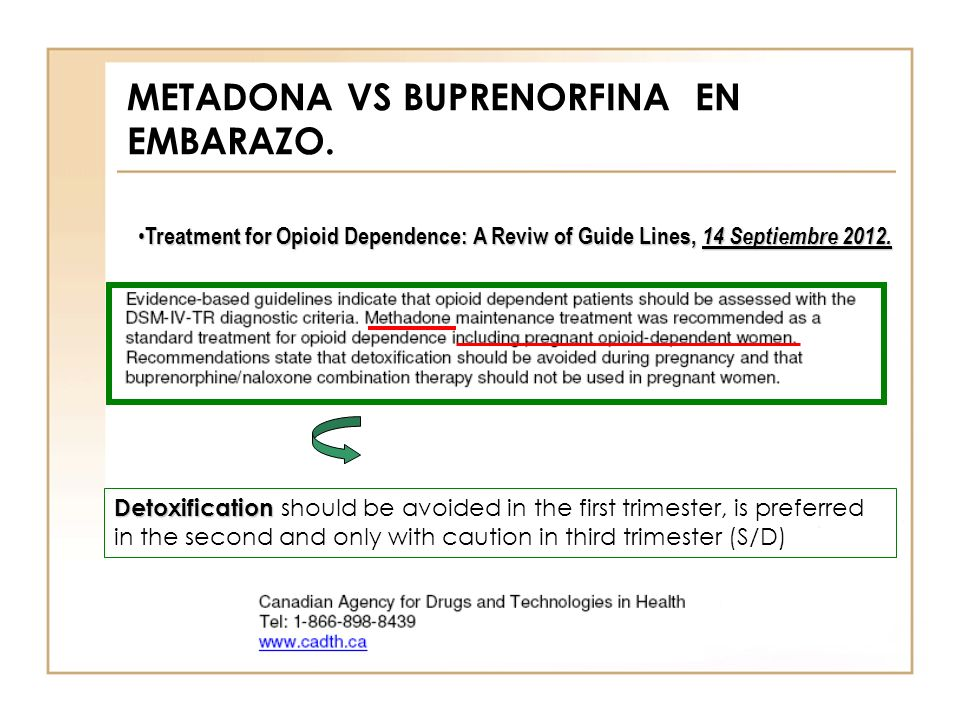 METADONA VS BUPRENORFINA EN EMBARAZO. Treatment for Opioid Dependence: A Reviw of Guide Lines, 14 Septiembre 2012. Treatment for Opioid Dependence: A