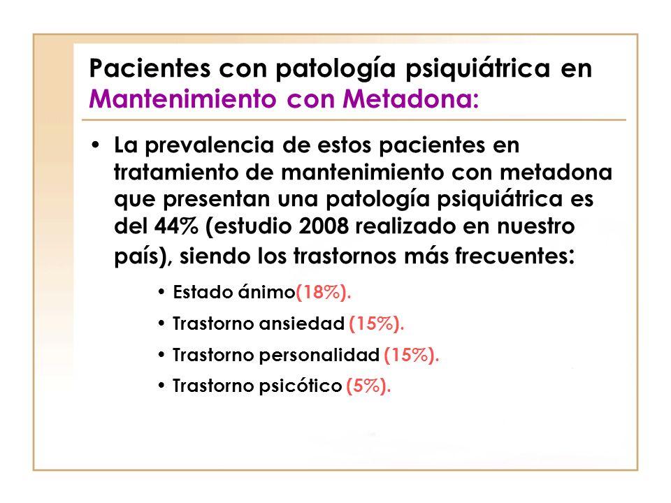 Pacientes con patología psiquiátrica en Mantenimiento con Metadona: La prevalencia de estos pacientes en tratamiento de mantenimiento con metadona que