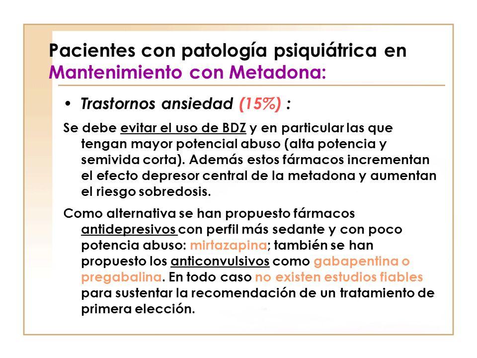 Pacientes con patología psiquiátrica en Mantenimiento con Metadona: Trastornos ansiedad (15%) : Se debe evitar el uso de BDZ y en particular las que t
