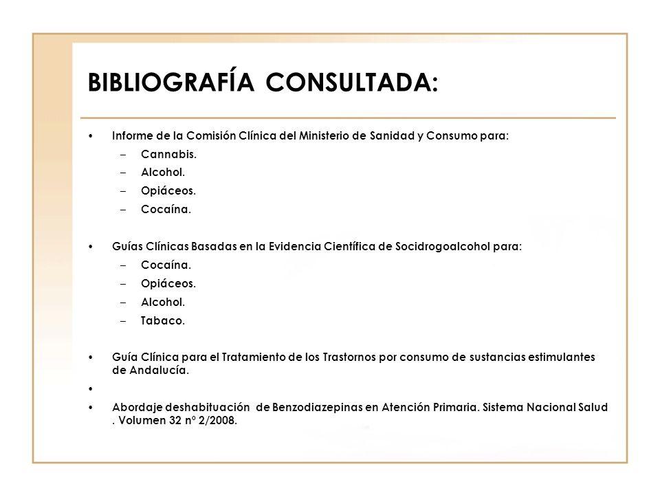 BIBLIOGRAFÍA CONSULTADA: Informe de la Comisión Clínica del Ministerio de Sanidad y Consumo para: – Cannabis. – Alcohol. – Opiáceos. – Cocaína. Guías