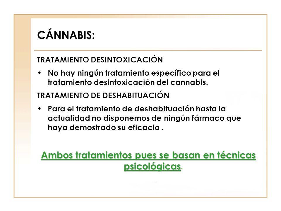 CÁNNABIS: TRATAMIENTO DESINTOXICACIÓN No hay ningún tratamiento específico para el tratamiento desintoxicación del cannabis. TRATAMIENTO DE DESHABITUA