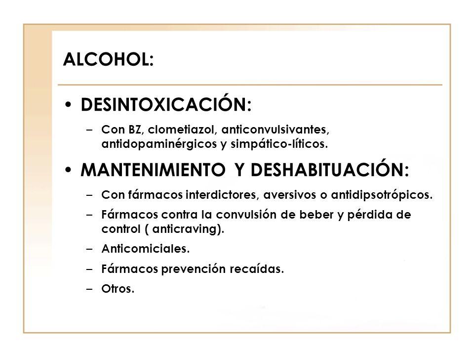 ALCOHOL: DESINTOXICACIÓN: – Con BZ, clometiazol, anticonvulsivantes, antidopaminérgicos y simpático-líticos. MANTENIMIENTO Y DESHABITUACIÓN: – Con fár