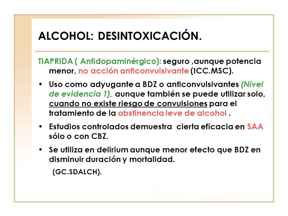 ALCOHOL: DESINTOXICACIÓN. TIAPRIDA ( Antidopaminérgico): seguro,aunque potencia menor, no acción anticonvulsivante (ICC.MSC). Uso como adyugante a BDZ