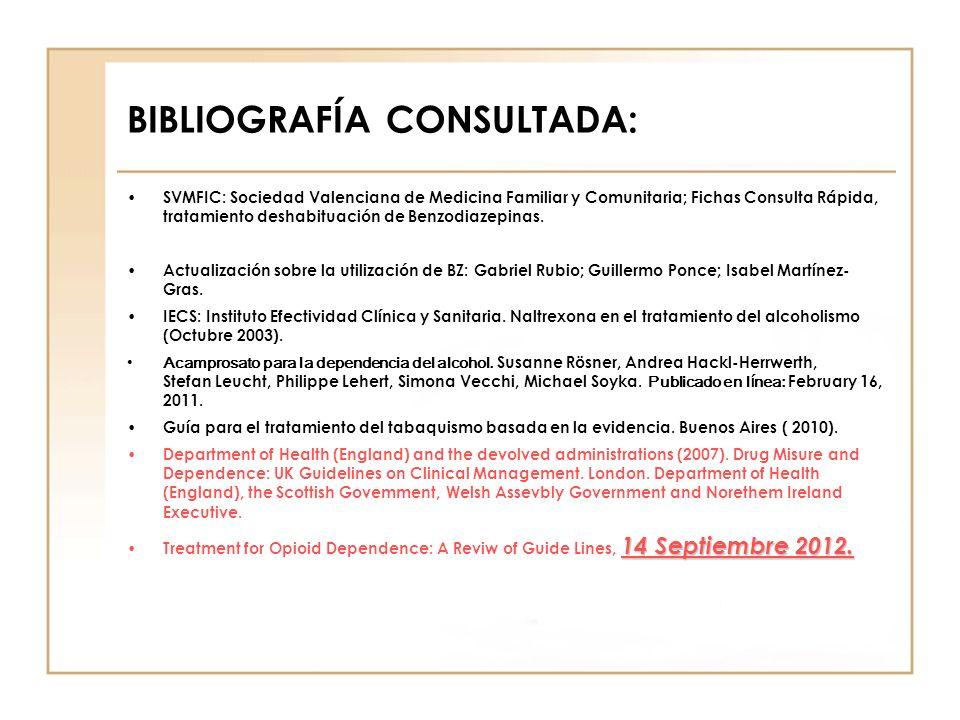 BIBLIOGRAFÍA CONSULTADA: SVMFIC: Sociedad Valenciana de Medicina Familiar y Comunitaria; Fichas Consulta Rápida, tratamiento deshabituación de Benzodi