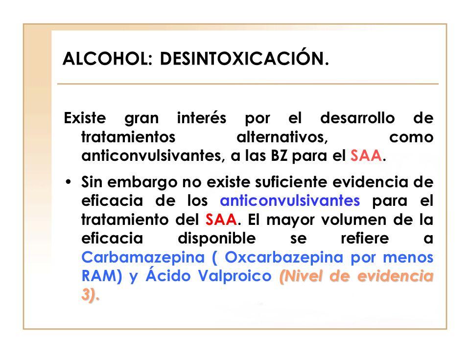 ALCOHOL: DESINTOXICACIÓN. Existe gran interés por el desarrollo de tratamientos alternativos, como anticonvulsivantes, a las BZ para el SAA. (Nivel de