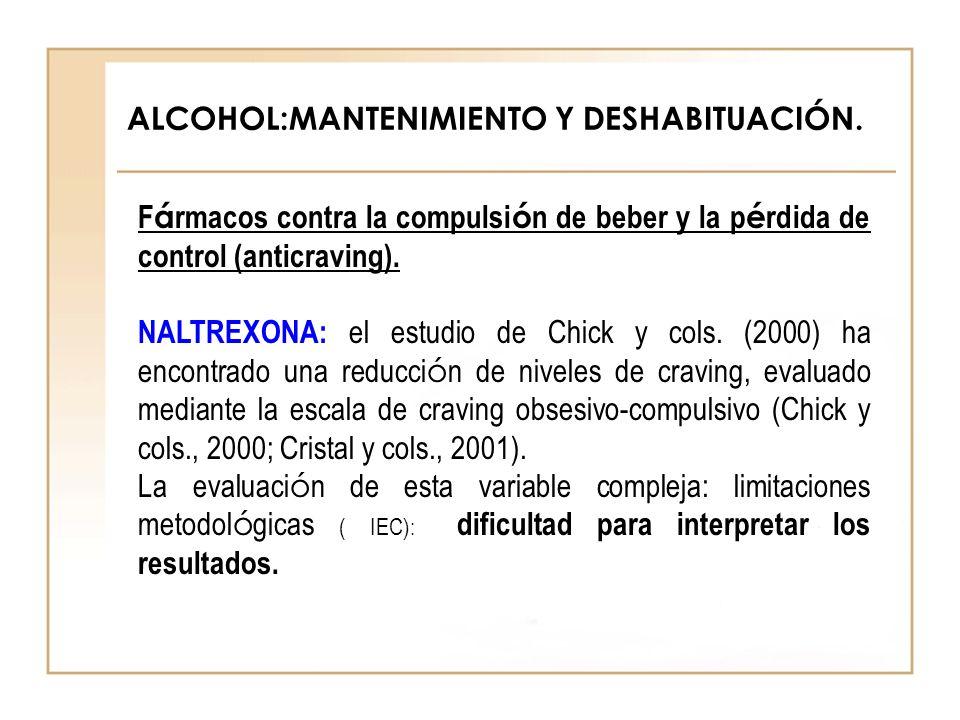 ALCOHOL:MANTENIMIENTO Y DESHABITUACIÓN. F á rmacos contra la compulsi ó n de beber y la p é rdida de control (anticraving). NALTREXONA: el estudio de