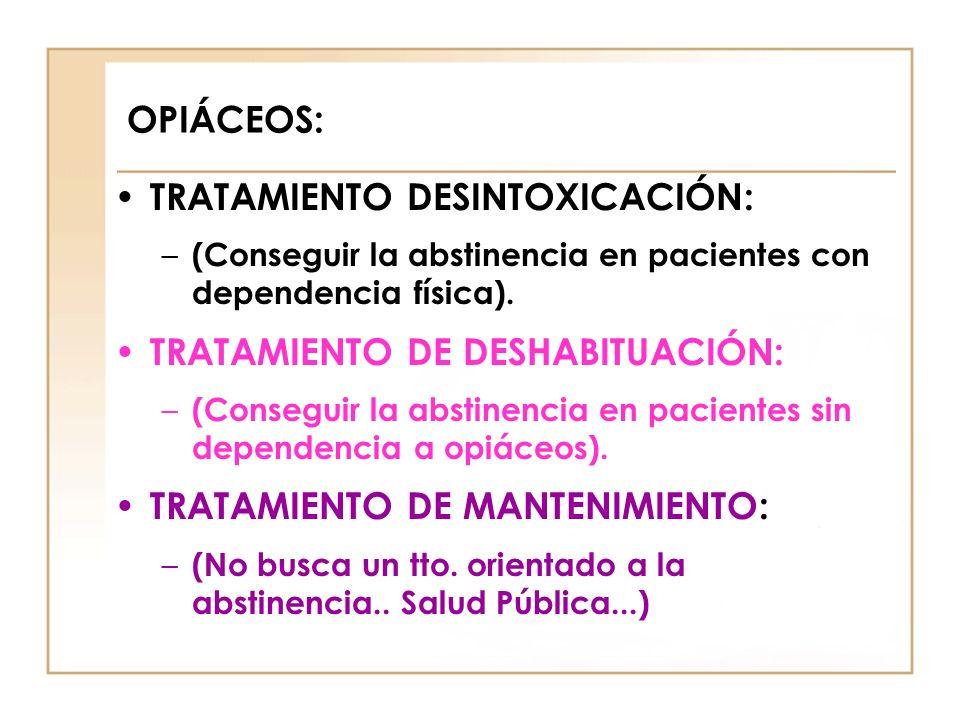 OPIÁCEOS: TRATAMIENTO DESINTOXICACIÓN: – (Conseguir la abstinencia en pacientes con dependencia física). TRATAMIENTO DE DESHABITUACIÓN: – (Conseguir l