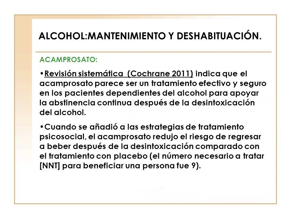 ALCOHOL:MANTENIMIENTO Y DESHABITUACIÓN. ACAMPROSATO: Revisión sistemática (Cochrane 2011) indica que el acamprosato parece ser un tratamiento efectivo