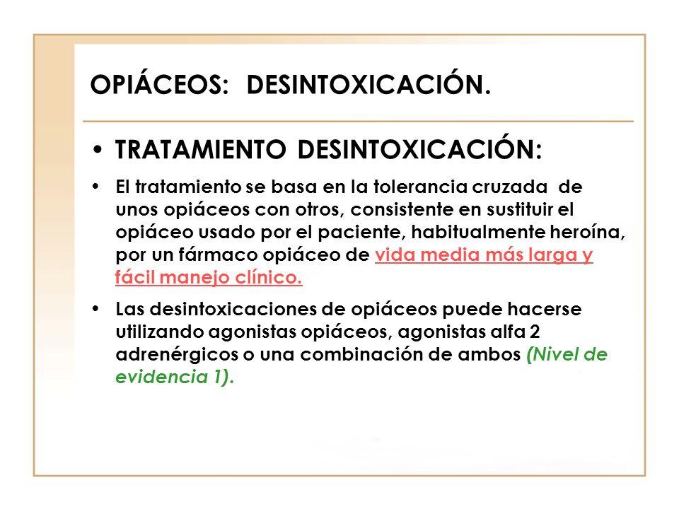 OPIÁCEOS: DESINTOXICACIÓN. TRATAMIENTO DESINTOXICACIÓN: El tratamiento se basa en la tolerancia cruzada de unos opiáceos con otros, consistente en sus